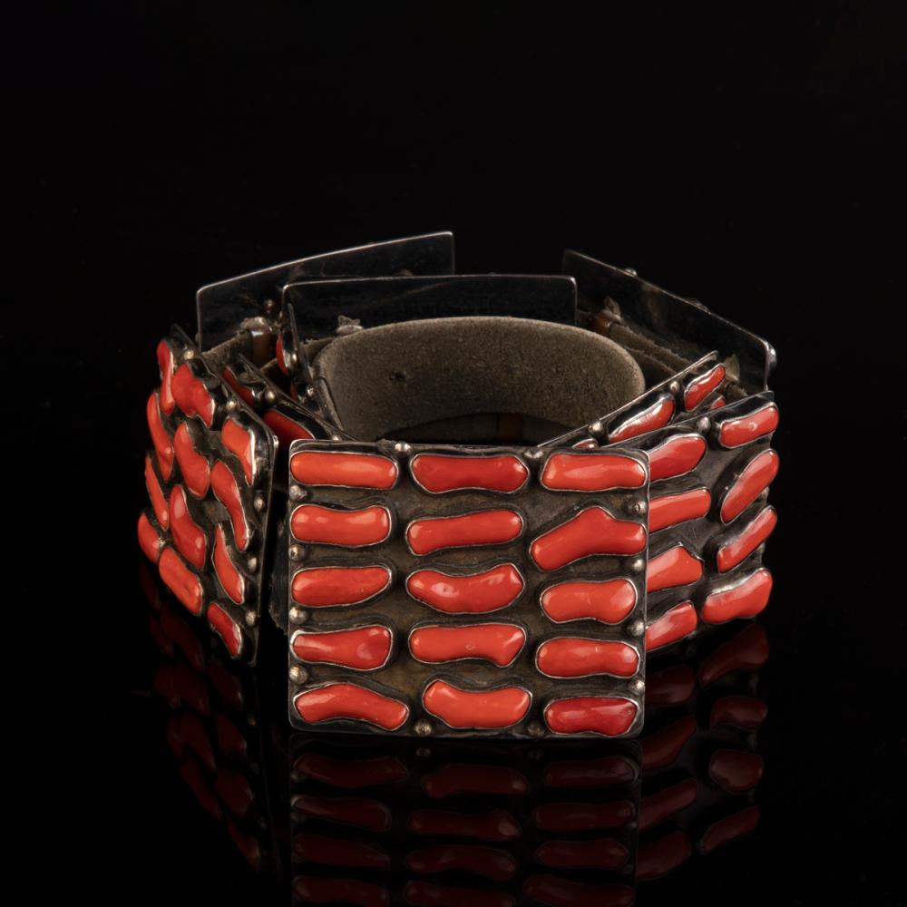 A Mark Chee Coral and Silver Concho Belt