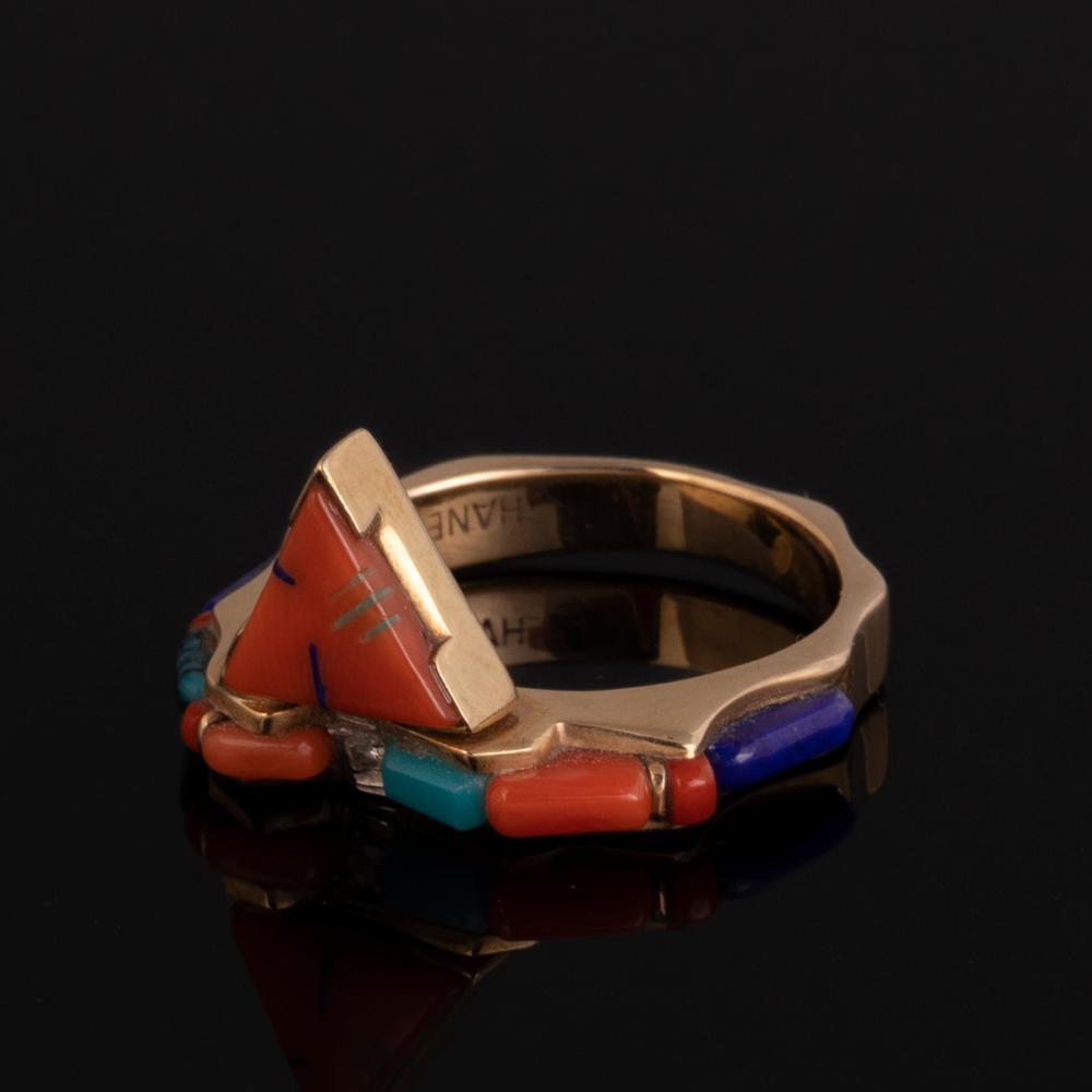 A Thane DeLeon Gold, Lapis Lazuli, Coral and Diamond Ring