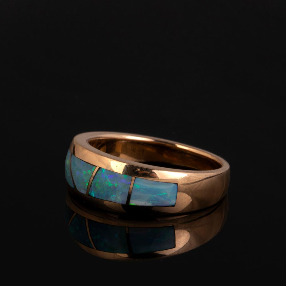 A Raoul Sosa Gold and Black Opal Ring