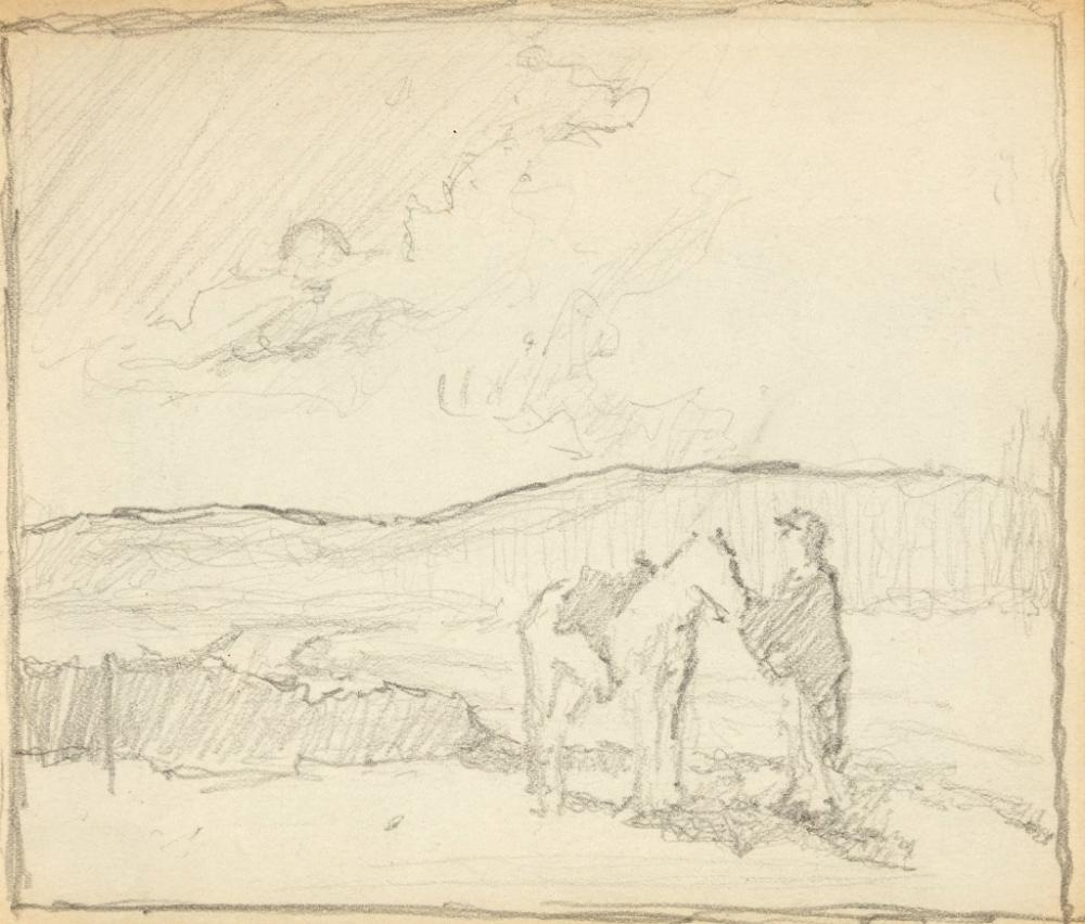 E. I. Couse, Untitled (Double-Sided Drawing Study)