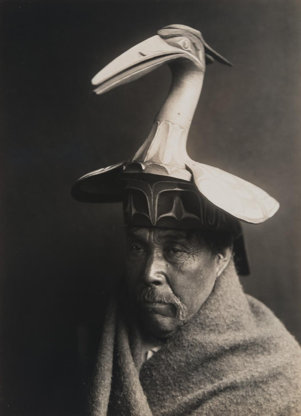 Edward S. Curtis, Untitled (Northwest Coast Man with Bird Headwear), ca. 1914