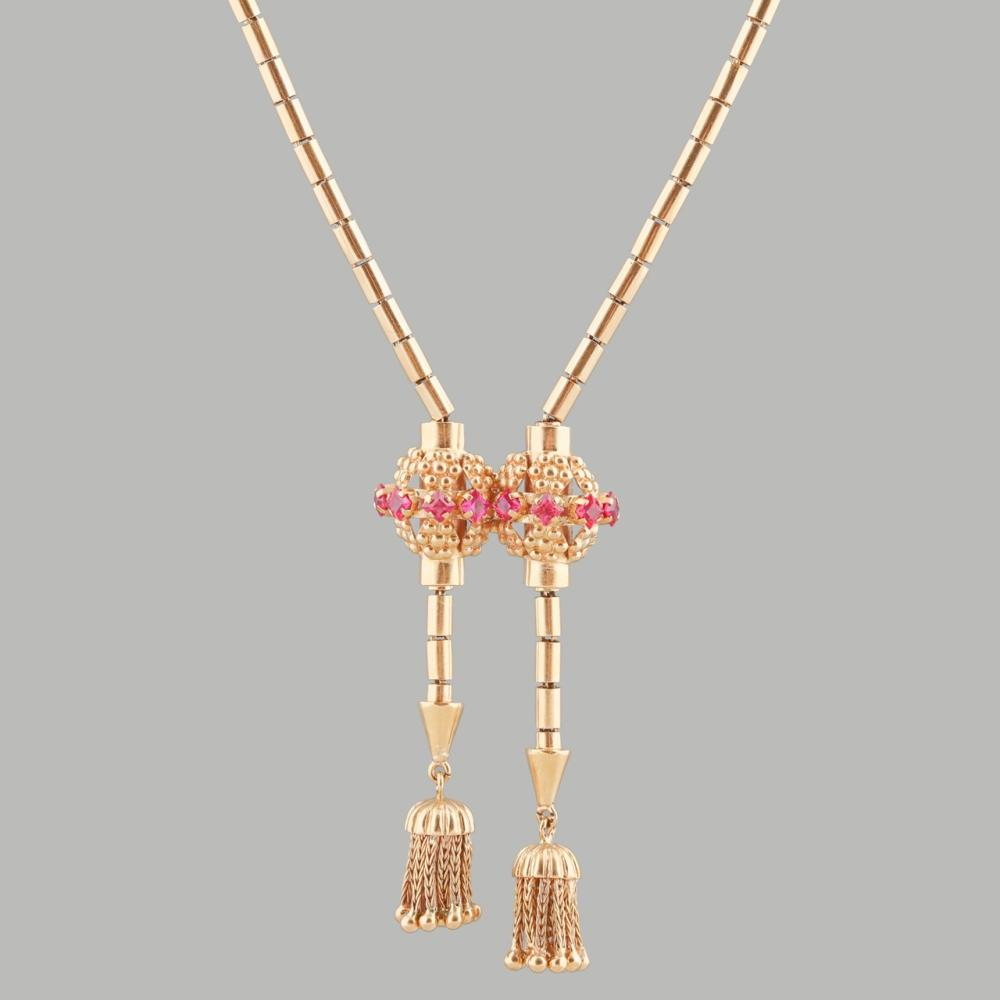 Gold necklace with fringes, studded with synthetic rubies