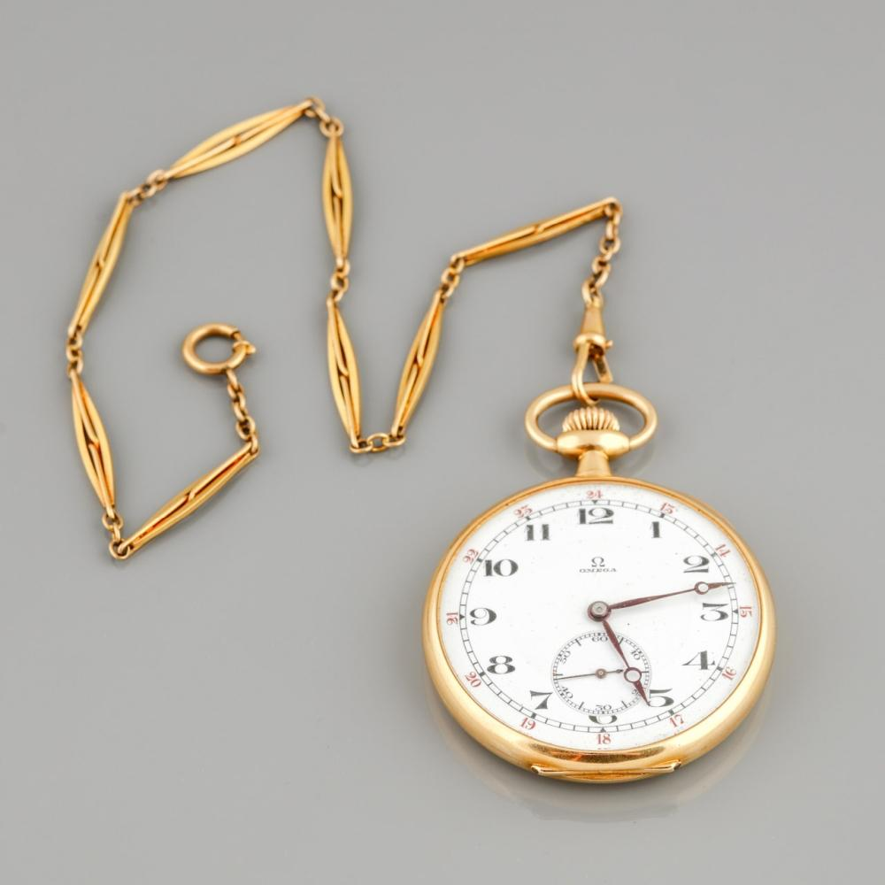 """Men's """"Omega"""" gold pocket watch with gold chain"""