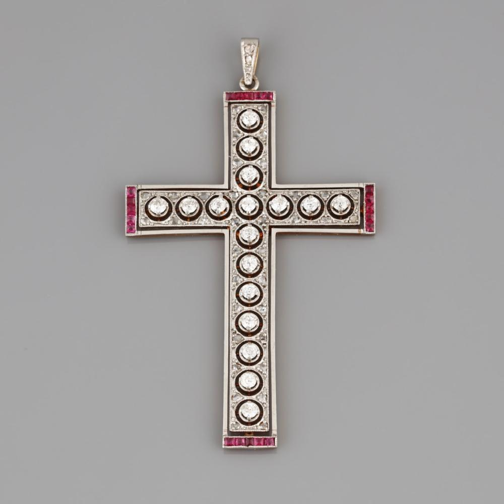 Cruciform Pendant with platinum, gold, set with diamonds and rubies