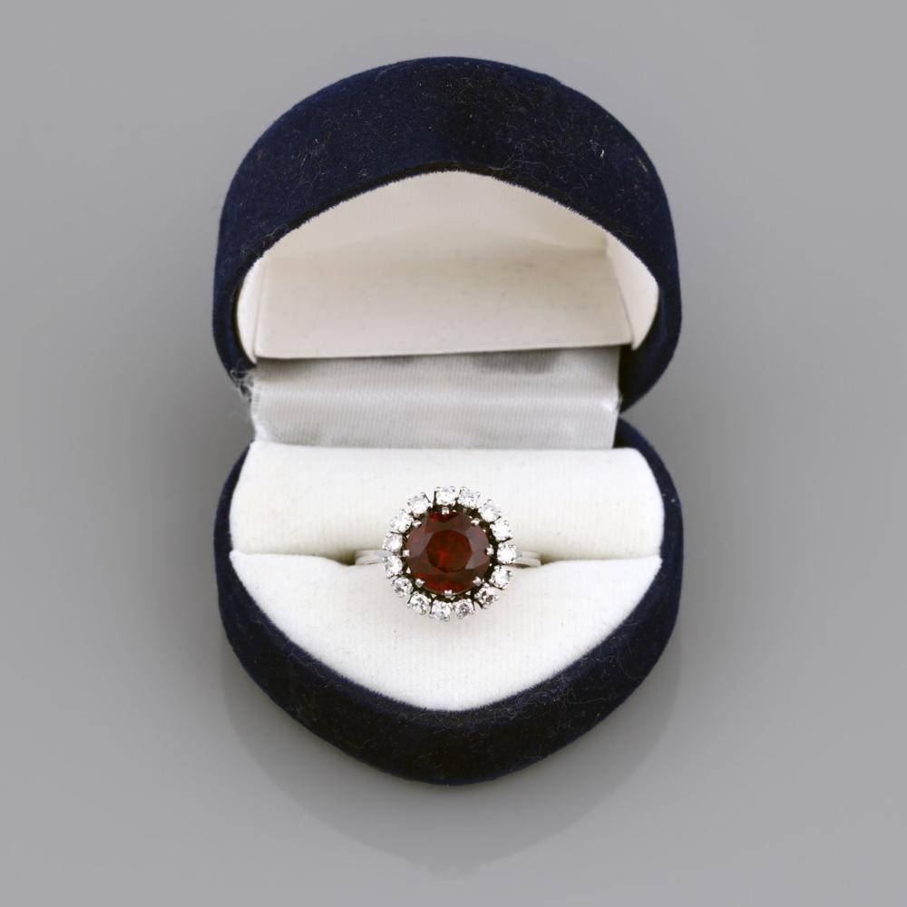 Platinum ring set with sixteen diamonds and a garnet