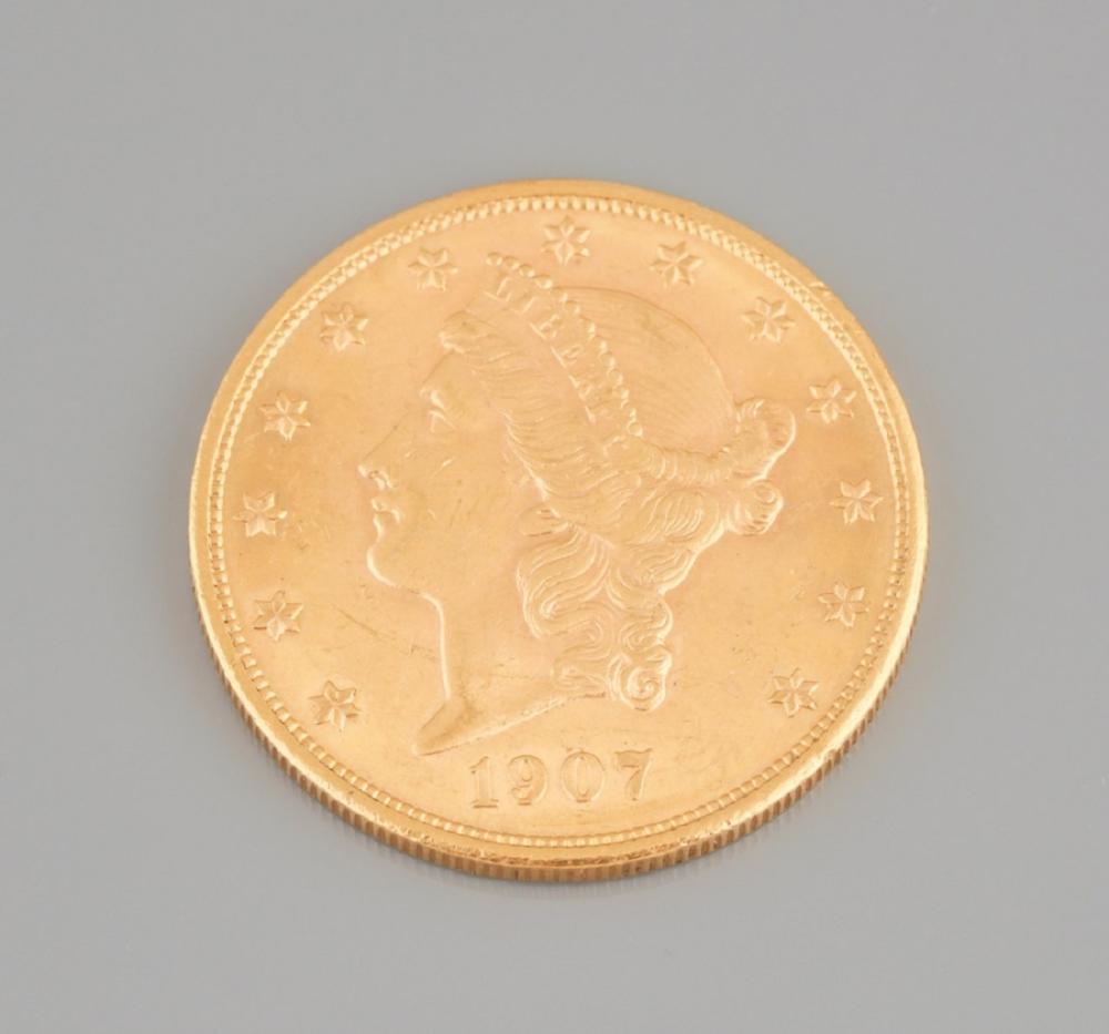 20 dollar gold coin, 1907