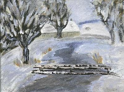 Hager, Marie (1872 Penzlin-1947 Burg Stargard) Winterlandschaft mit Fluÿlauf , um 1920, ul/Mp., sign. u.l., ruckseitig bez., gerahmt, 28x35,5 cm