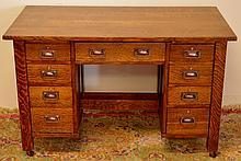 Rare Stickley Brothers Double Pedestal Oak Desk