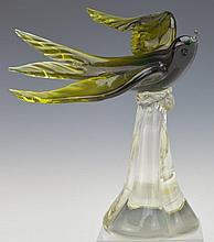 Murano Art Glass Swallow Bird Sculpture