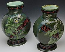 English Beech and Hancock Verde Vase Grouping