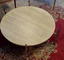 Mid Century Modern Travertine & Chrome Coffee Table