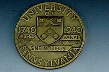 Univ. of Penn Bronze Medal Bicentennial 1740-1940