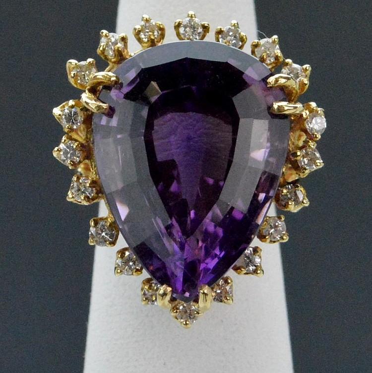 18yg Amethyst and Diamond Set Ring