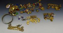 Costume Jewelry and Charm Bracelet Grouping