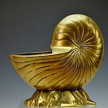 Brass Chambered Nautilus Decorative Piece
