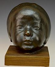 Azriel Awret Signed and Numbered Bronze Child's Head Art