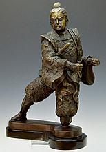 Brass Statue, Samurai in Battle Stance
