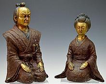 Kneeling Samurai Statue, Man and Woman Pair