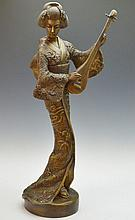 Japanese Geisha With Lute Statue