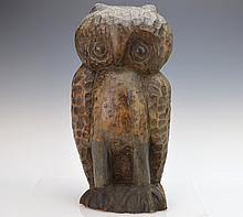 Carved Wood Owl Sculpture