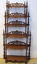 Victorian Walnut Etegere or What Not Shelf