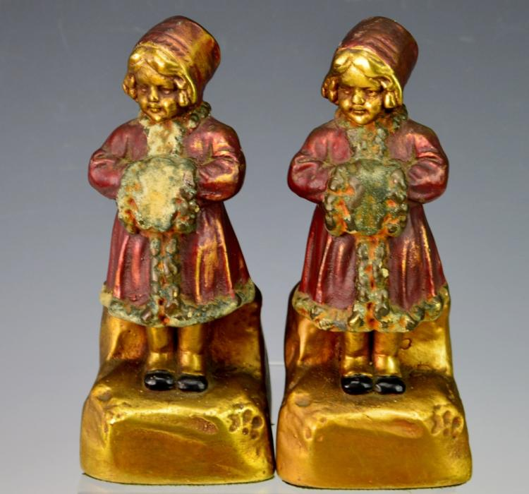 Armor bronze co pair of little girl bookends - Armor bronze bookends ...