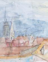Hessing, Gustav — Blick über eine Dachlandschaft