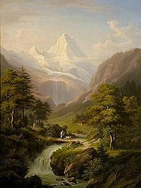 Winterlin, Anton Jungfraumassiv mit Wasserfall