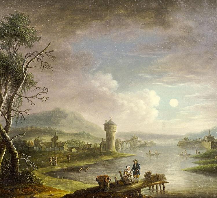 Niederlande, um 1700 Hafenszene mit Figuren bei