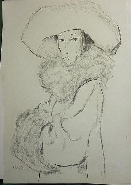 Costa, Amleto dalla-Elegante Dame mit Hut und
