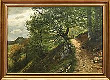 Fahrbach, Carl Ludwig: Spaziergängerin auf einem Waldweg