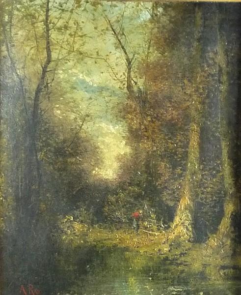 Ray, Anatole Paul: Reisigsammlerin im Wald