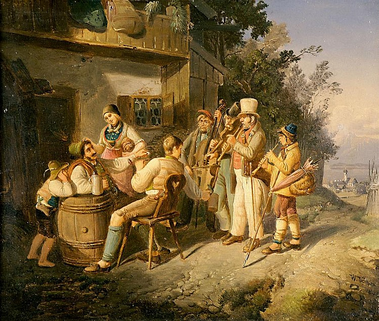 Völker, Wilhelm Musikanten vor einem Bauernhaus