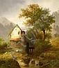 Brandenburg, Wilhelm Gebirgslandschaft mit an einem Bach gelegener Mühle, Wilhelm (1824) Brandenburg, Click for value