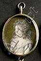 Violet, Pierre Noël Portraitminiatur einer Dame in weißem Kleid und mit blauem Haarband, Pierre Noël Violet, Click for value