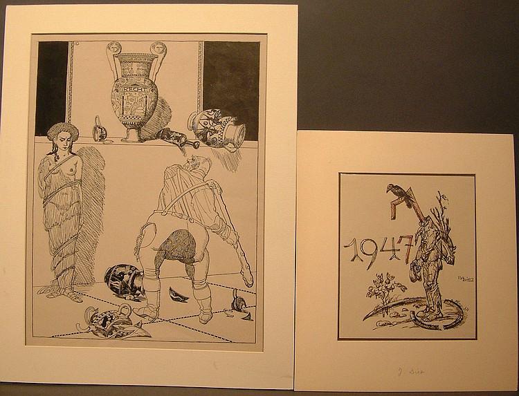 Diez, Julius Karikatur und Neujahrswunsch