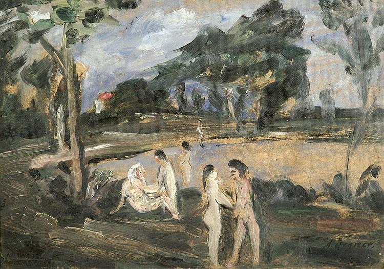 Degner, Artur Landschaft mit See und Badenden