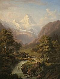 Winterlin, Anton - Jungfraumassiv mit Wasserfall