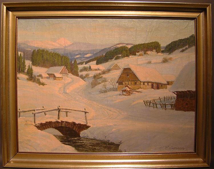 Weimann, Paul Winterlandschaft mit Gehöften an