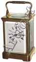French brass and glass, 8 day, time and strike, carriage clock, c1900