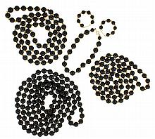Onyx jewelry suite: 3 (Three) beaded onyx necklaces, one opera length at 24
