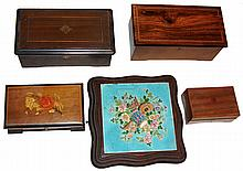 Music boxes- 5 (Five) Swiss wood cased: two 19th century with pinned cylinders; three 20th century