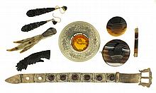 Jewelry -8 (Eight) pieces including a pair of Victorian gutta percha earrings, a gutta percha brooch in the form of a hand holding flowers, a silver mounted grouse foot pin, an engraved silver belt form bracelet set wit 6 faceted stones, possibly