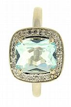 Ring, 14 karat white gold set with a light blue topaz, surrounded by diamonds, size 9, 3.1g TW