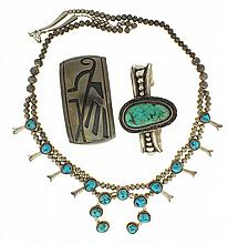 Silver, southwestern, a necklace composed of graduated hollow beads threaded on a chain and with set turquoise, marked sterling, a bracelet with chased decoration, applied beading, and a large turquoise, signed Th Begay, and a wide cuff bracelet with
