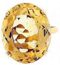 Ring, 22.5 carat oval citrine set in 18k yellow gold, marked .750, size 7 1/2, 8.7g TW
