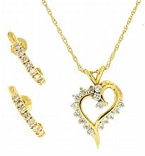 Necklace, 14 karat yellow and white gold heart shaped pendant set with16 diamonds, 18