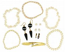 Jewelry lot - Yellow gold bracelet with roughly 1/3 carat diamond marked 14k, pair of agate drop earrings, quill form pin in silver gilt, gold filled and enamel slipper form masonic pin, three pearl bracelets on elastic cord, two pearl an crystal