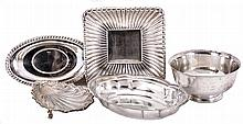 Metalware- 5 (Five) sterling and Silver Plated Items: (1) sterling bowl stamped