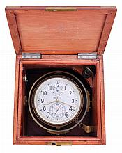 Poljot (Russian) marine chronometer in box with brass corner hardware, two day fusee movement with spring detent escapement, serial 01285